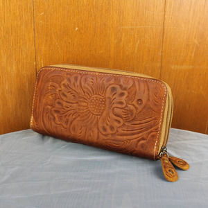 Mexican Tooled Leather Zip Around Wallet
